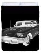 Black And White 1958  Ford Thunderbird  Car Pop Art Duvet Cover