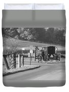 Black And White Amish Horse And Buggy Duvet Cover