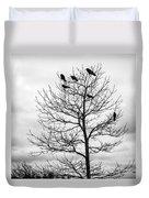 Black And White Blackbirds  Duvet Cover
