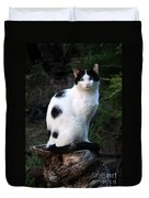 Black And White Cat On Tree Stump Duvet Cover