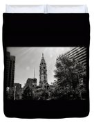 Black And White City Hall Duvet Cover