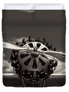 Black And White Close-up Of Airplane Engine Duvet Cover
