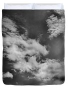 black and white Cloud formation skyscape summer 2013 white to grey clouds on a blue sky Duvet Cover