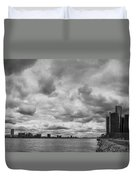 Black And White Detroit Skyline  Duvet Cover