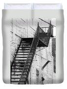 Black And White Fire Escape Usa Near Infrared Duvet Cover