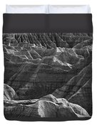 Black And White Image Of The Badlands Duvet Cover