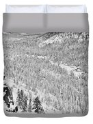 Black And White Lake Tahoe California Covered In Snow During The Winter Duvet Cover