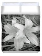 Black And White Lilies Duvet Cover