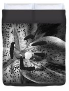 Black And White Lily Up Close Duvet Cover