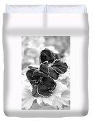 Black And White Maui Flowers Duvet Cover