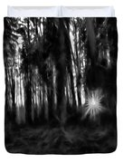 Black And White Monochrome Artistic Painterly Sun Between Trees  Duvet Cover