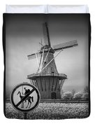 Black And White No Tilting At Windmills Duvet Cover