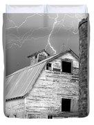 Black And White Old Barn Lightning Strikes Duvet Cover