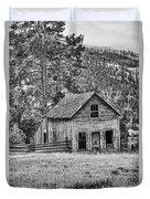 Black And White Old Merritt Farmhouse Duvet Cover