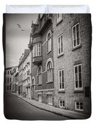 Black And White Old Style Photo Of Old Quebec City Duvet Cover