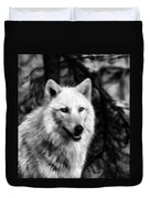 Black And White Painted Wolf Duvet Cover