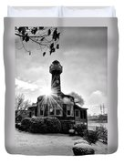 Black And White Philadelphia - Turtle Rock Lighthouse Duvet Cover