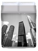 Black And White Photo Of Chicago Skyscrapers Duvet Cover