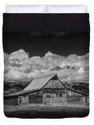 Black And White Photo Of The T.a. Moulton Barn In The Grand Tetons Duvet Cover