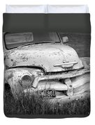 Black And White Photograph A Vintage Junk Chevy Pickup Truck Duvet Cover