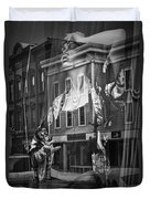 Black And White Photograph Of A Mannequin In Lingerie In Storefront Window Display  Duvet Cover