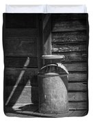 Black And White Photograph Of Vintage Creamery Can By The Old Homestead In 1880 Town Duvet Cover