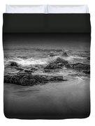 Black And White Photograph Of Waves Crashing On The Shore At Sand Beach Duvet Cover