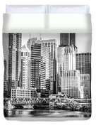 Black And White Picture Of Chicago At Lake Street Bridge Duvet Cover