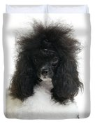 Black And White Poodle Duvet Cover
