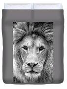 Black And White Portrait Of A Lion Duvet Cover