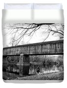 Black And White Schofield Ford Covered Bridge Duvet Cover