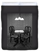Black And White Sitting Table Duvet Cover