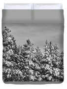 Black And White Snow Covered Trees Duvet Cover
