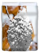 Black And White Snow Leaf Duvet Cover