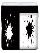 Black And White Splashes Digital Painting Duvet Cover