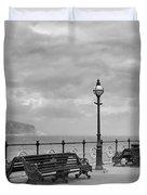 Black And White Swanage Pier Duvet Cover