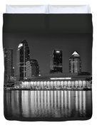 Black And White Tampa Night Duvet Cover