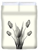 Black And White Tulips Drawing Duvet Cover