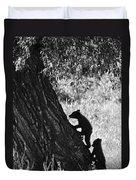 Black Bear Cubs Climbing A Tree Duvet Cover