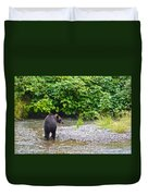 Black Bear Eating A Salmon In Fish Creek In Tongass National Forest-ak Duvet Cover