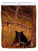 Black Bear Sticking Out Her Tongue  Duvet Cover