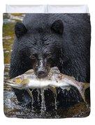 Black Bear With Salmon Duvet Cover