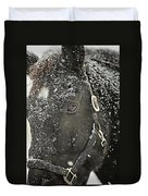 Black Beauty In A Blizzard Duvet Cover