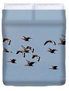 Black-bellied Whistling Ducks In Flight Duvet Cover