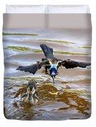 Black Bird On The Water Duvet Cover