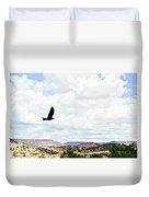 Black Bird In Flight Duvet Cover