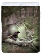 Black Bird In Forgotten Graveyard Duvet Cover