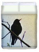 Black Bird Perch Duvet Cover