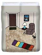 Essence Of Home - Black Cat Entering Living Room Duvet Cover