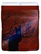 Black Cat In The Moonlight Duvet Cover